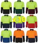 10 PACK Mens Hi Vis Traditional Long Sleeve Polo Shirt 6HVPL | Tradie Trade Wear