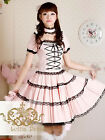 New Pretty women fashion Sweet Lace-Up Pure Cotton Pink Lolita Dress