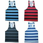 Mens Striped Racerback Y-Back T-Back Gym Bodybuilding Fitness Singlet Tank Top