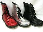 LADIES SYNTHETIC GLITTER LACE UP ANKLE BOOTS (SPOT ON F50200