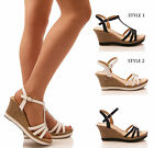 LADIES WOMENS DIMANTE WEDGES SUMMER HOLIDAY CASUAL COMFORT STRAPPY SHOES SIZE