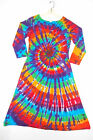 TIE DYE Women's Rainbow Long Sleeve Dress grateful dead hippie boho sm med lg xl
