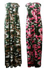 NEW LADIES NEON CAMOUFLAGE PRINT SHEARING BANDEAU MAXI DRESS PLUS SIZE 14-18