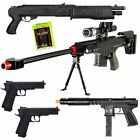 NEW Lot of 5 Airsoft Guns Sniper Rifle Shotgun Spring Pistols & 1,000 6mm BBs