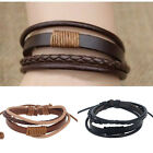Fashion Mens Punk Handmade Bracelet Black Brown Leather Surfer Braided Wristband image