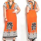 12 - Plus Size Kimono Maxi Long Orange And Black Summer Beach Dress