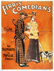 4893.Ferri's comedians.man and woman walking dog.POSTER.Decoration.Graphic Art