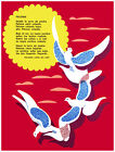 4967.Poem.Paloma.dovers flying in sky next to sun.POSTER.Decoration.Graphic Art
