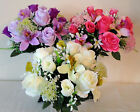 ORCHID & ROSE BUNCH(18 HEADS) - ARTIFICIAL FLOWERS/WEDDING/GRAVE-CHOICE COLOURS