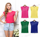 Summer Women Loose Lotus leaf Short Sleeve T-shirt Chiffon Casual Tops Blouse