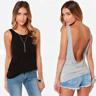 Fashion Women Backless Back Deep V Neck Casual Slim Shirt Top Blouse Vogue