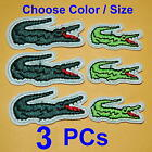 3 Crocodile Alligator Animal Iron On Sew Patch Applique Badge Embroidery Cute