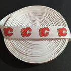 "7/8"" Calgary Flames White Ribbon by the Yard (USA SELLER!) $10.95 USD on eBay"