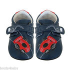 JACK and LILY  Real Leather Baby Shoes Navy Blue Racing Car indoor & outerwear