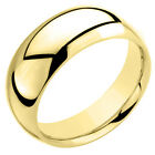 925 Sterling Silver Wedding Band Ring Yellow 7MM