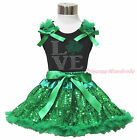 St Patrick's Day Rhinestone Love Clover Black Top Bling Green Sequins Skirt 1-8Y