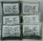 Country Oblong Cushion Embroidered with Assorted Friend Sentiments Dark Fawn