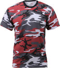 Mens Red Camouflage Tactical Military Short Sleeve T-Shirt
