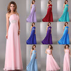 One Shoulder Chiffon Evening Wedding Party Ball Gown Prom Bridesmaid Long Dress