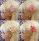 """♥ WILD ROSE FLORAL 2"""" FLOWER VINTAGE RETRO STYLE HAIR CLIP HOLIDAY WEDDING PROM"""