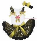 Easter Pink Bow Bunny White Top Black Gold Sequins Newborn Baby Skirt 3-12Month
