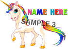 RAINBOW UNICORN IRON ON TRANSFER PERSONALISED FREE Ref GRL09 - 03