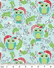 Christmas Owls Fabric with Santa Hats Aqua OR White 100% Cotton Holiday New