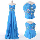 Sexy Chiffon Formal Evening Party Wedding Ball Gown Bridesmaid Long Prom Dresses