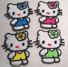 LOT (1 ou 4) ÉCUSSON PATCH BRODÉ thermocollant - PETIT CHAT KITTY  **3 x 4 cm**