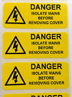Electrical Safety Warning Labels - ISOLATE MAINS  - Yellow 50mm x 20mm