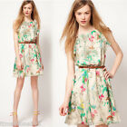 Women Sexy Chiffon Casual Sleeveless New Flower Print Girl Party Slim Mini Dress