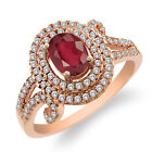 2.37 Ct Oval Natural African Red Ruby 925 Rose Gold Plated Silver Ring