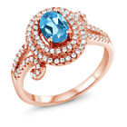 2.05 Ct Oval Swiss Blue Topaz 925 Rose Gold Plated Silver Ring