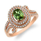 2.10 Ct Oval Green Tourmaline 925 Rose Gold Plated Silver Ring