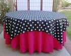 "30 Polka Dots 60""x60"" Satin Overlays Tablecloths Square W..."