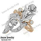 Russian Style Jewelry Genuine Diamond Ring in 14k Solid Rose & White Gold
