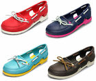 "LADIES CROCS ""BEACH LINE BOAT"" FLAT MAN MADE SLIP ON SANDAL SHOES IN 4 COLOURS"