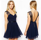 Women Sexy Deep V Backless Lace Chiffon Mini Dress Evening Party Formal Bodycon