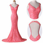 2015 Mermaid BACKLESS Long Evening Formal Ball Gown Party Prom Dresses Plus Size