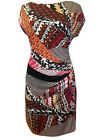 New with Tags MK Rouched Side Red Abstract Midi Dress Plus Size 16 **Last One**