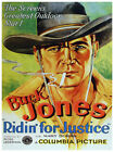 5417.Buck jones.Riding for justice.man in hat.POSTER.Decoration.Graphic Art