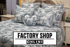 Toile De Jouy - 100% Cotton  French Vintage Patchwork Bedspread Duvet White Blue