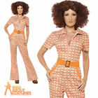 Adult Authentic 70s Chic Costume Ladies Jumpsuit Fancy Dress Outfit New UK 8-22