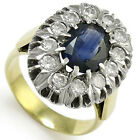 14k White Yellow Gold  1.80 cwt Sapphire & 1.60 cwt  Diamond RUSSIAN STYLE Ring