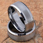Tungsten Wedding Bands Set Infinity Jewelry Titanium Color Brushed Size 6-13
