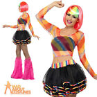 80s 90s Rainbow Raver Kit Tutu Mesh Top Ladies Fancy Dress Costume New