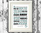 Oasis Dont Look Back In Anger Lyrics Poster Design Lyric Typography Print Only