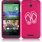For HTC Desire 510 Rubber Hard Snap On 2 Piece Case Cover Flip Flops Hibiscus