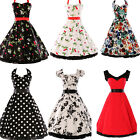 UK FAST Vintage Style 1950's Retro Pinup Swing Dress Formal Party Cocktail Dance