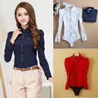 FO New Hot Womens Long Puff Sleeve Formal Blouses Shirts Office Working Tops UK